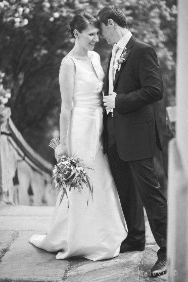 black & white wedding photography fine art posed bride and groom