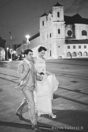 black and white wedding photography Night photo