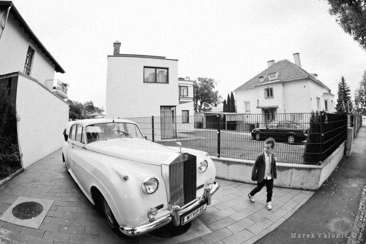 black & white wedding photography Rolls Royce little boy