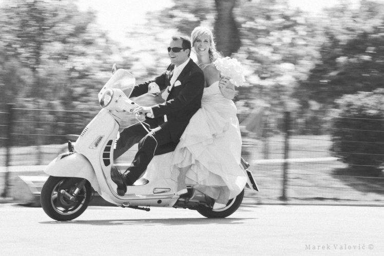 black & white wedding photography Vespa groom bride