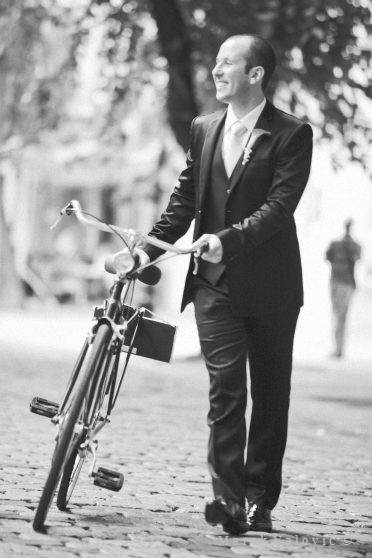 black and white wedding photography Classic and Timeless groom bike