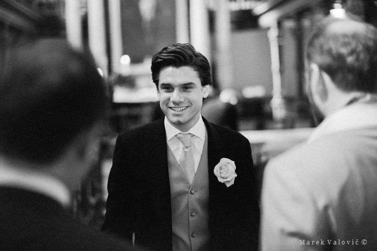 happy groom - wedding in black & white