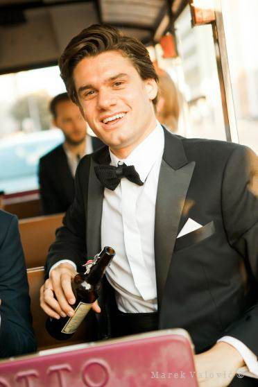 groom drinking beer