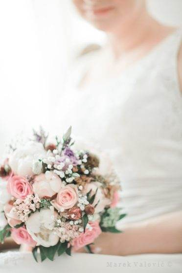 vintage style for wedding - pastel color bouquet