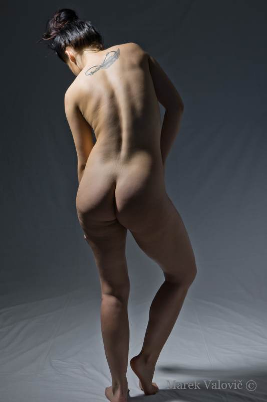classical pose for artist nude woman figure from back