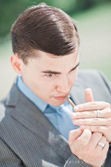 wedding guest - smart man smoking