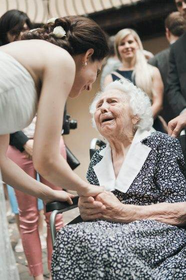 grandma congratulating from the heart to bride on wedding