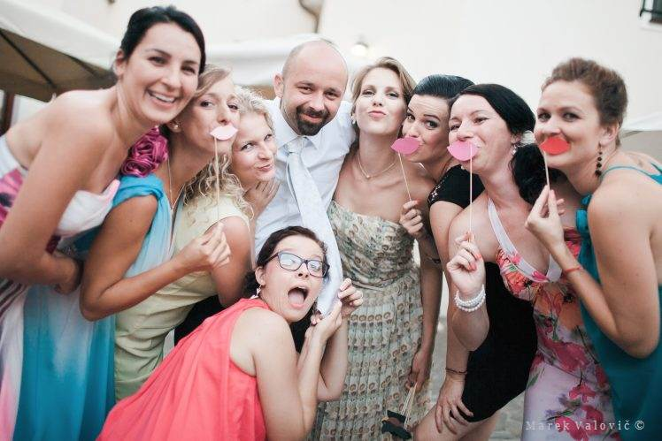 wedding group portrait - paper mustache