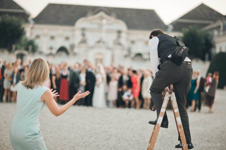 wedding photographer on a ladder to take group photo - Schloss Halbturn
