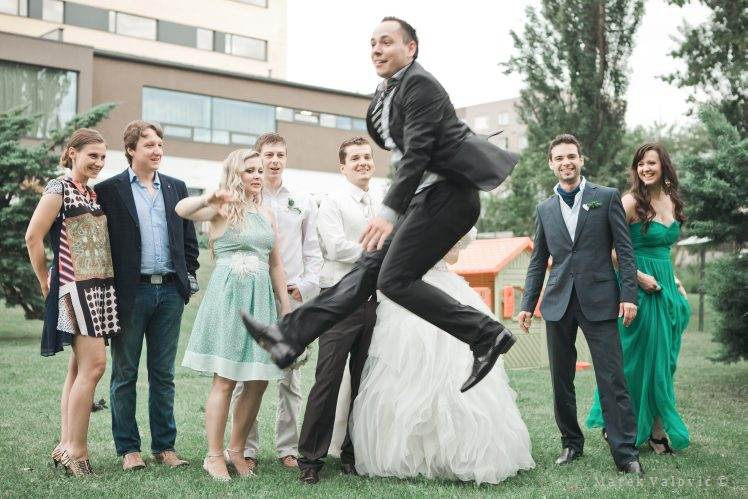 wedding group photo - jump
