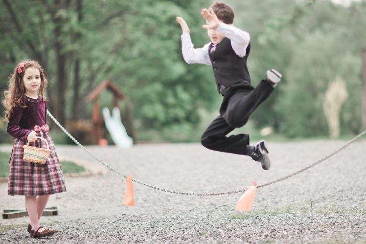 wedding kid - jumping