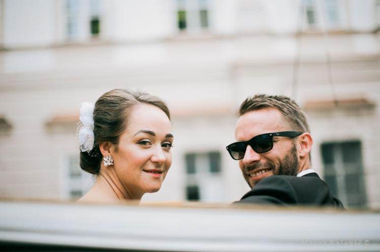 bride and groom on carriage - Kodak Portra 160 pro