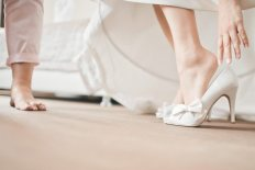 wearing wedding shoes