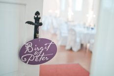 plate on door purple wedding decor