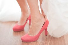 wearing red wedding shoes