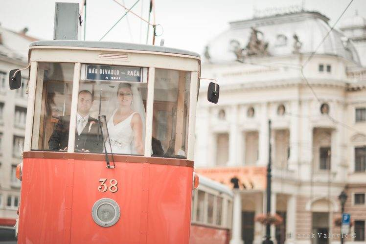 bride and groom in tramway Bratislava
