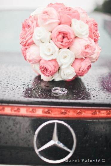 black mercedes and bouquet